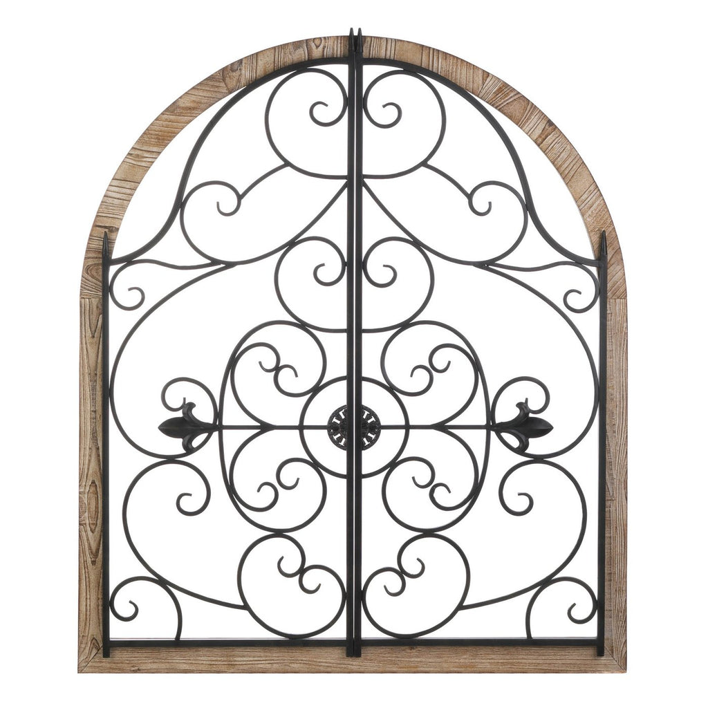 Arched Wood & Iron Wall Decor,mirror,Adley & Company Inc.
