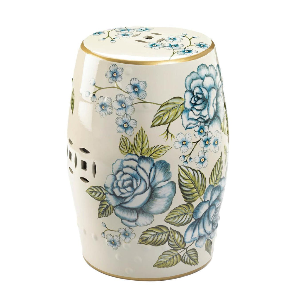 Blue Floral Ceramic Barrel Seat,stool,Adley & Company Inc.