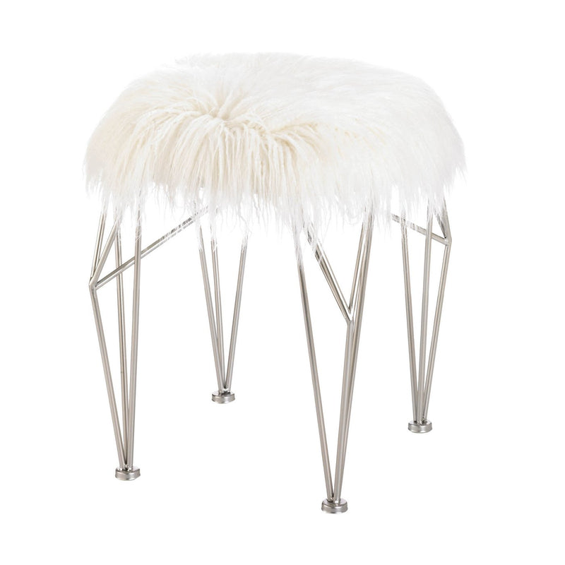 Silver Hairpin Leg and White Faux Fur Stool,stool,Adley & Company Inc.