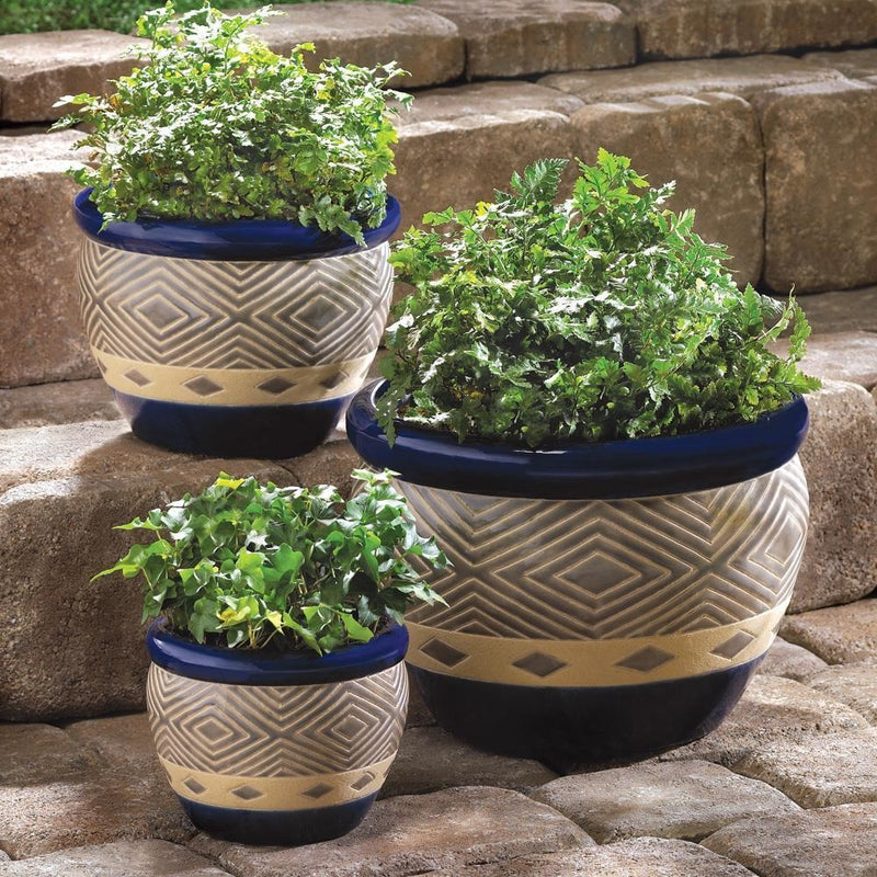 Trio of Cobalt Blue Ceramic Planters,planter,Adley & Company Inc.