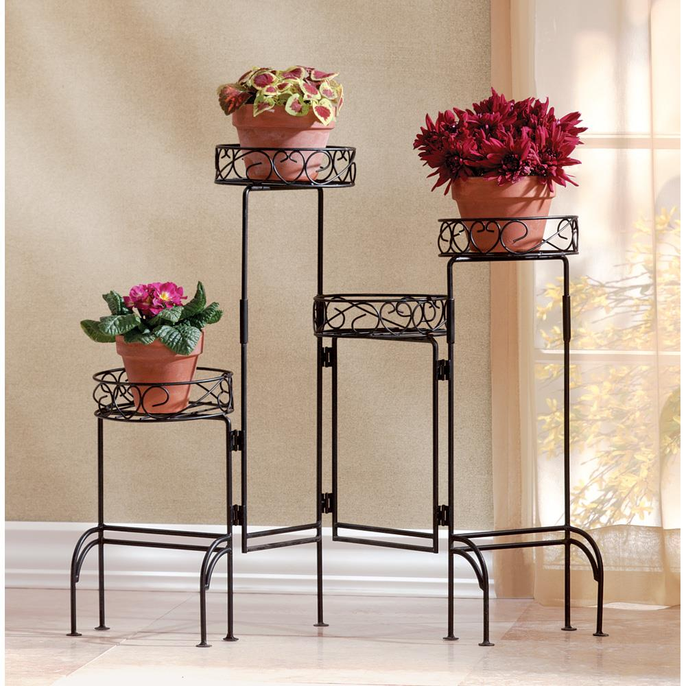 Four Tiered Black Iron Plant Stand,plant stand,Adley & Company Inc.