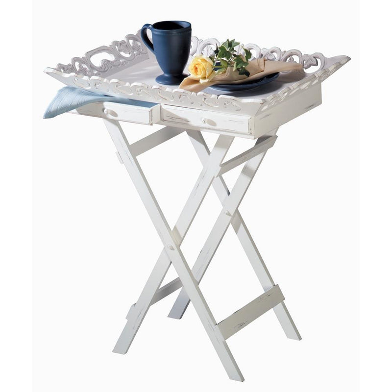 White Elegant Tray Table,tray table,Adley & Company Inc.