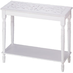 White Wood Carved Table,console table,Adley & Company Inc.