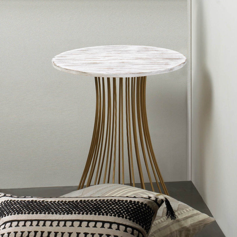 Round Gold Accent Table,side table,Adley & Company Inc.
