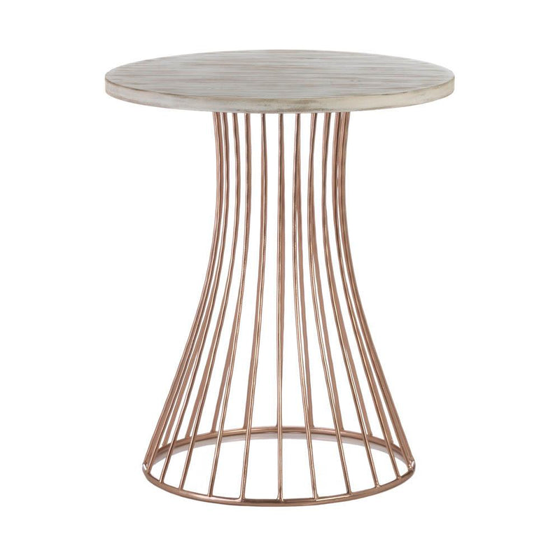 Rose Gold Metal and Wood Side Table