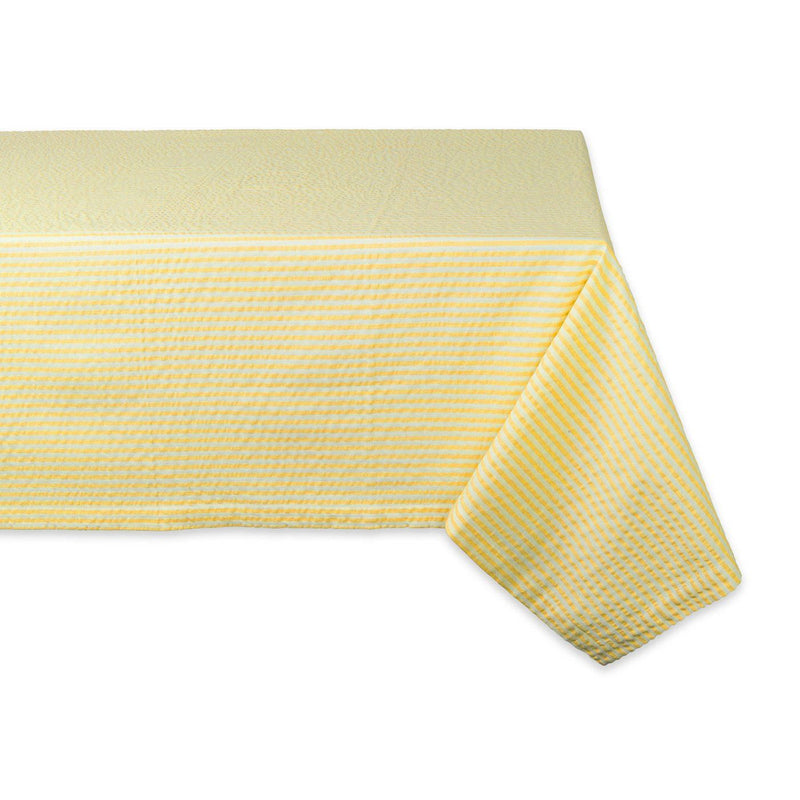 Yellow Striped Seersucker Tablecloth