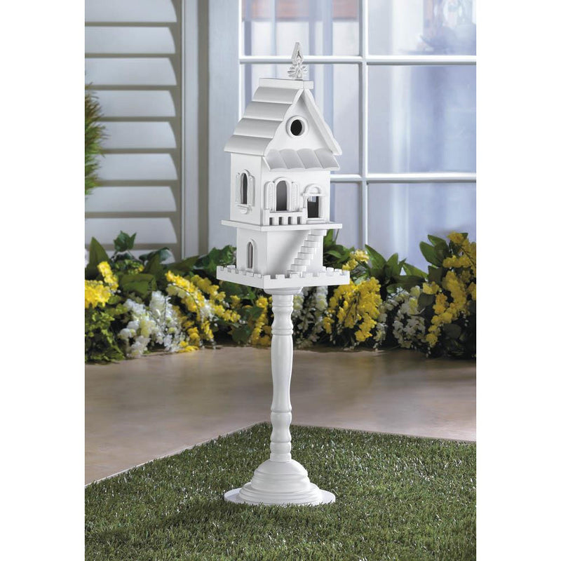 Two Storey White Bird House,bird house,Adley & Company Inc.