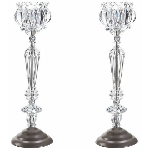 Crystal Glass Tall Candle Holder, Set of 2