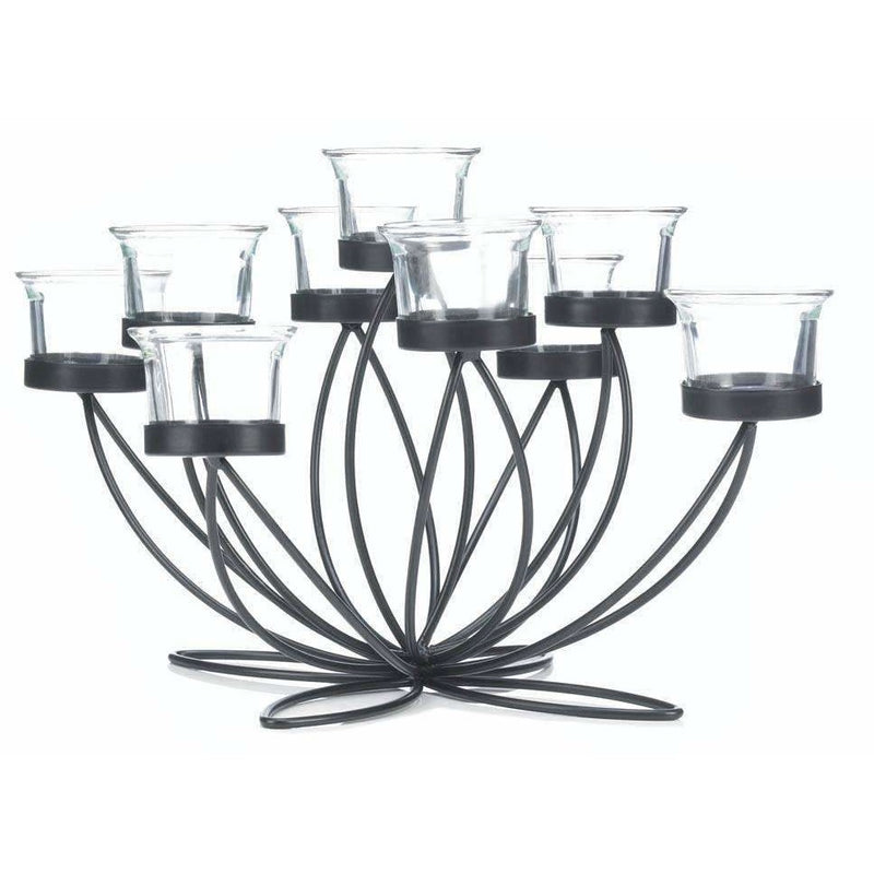 Black Metal 9 Tea Light Candle Holder, Candelabra,candelabra,Adley & Company Inc.