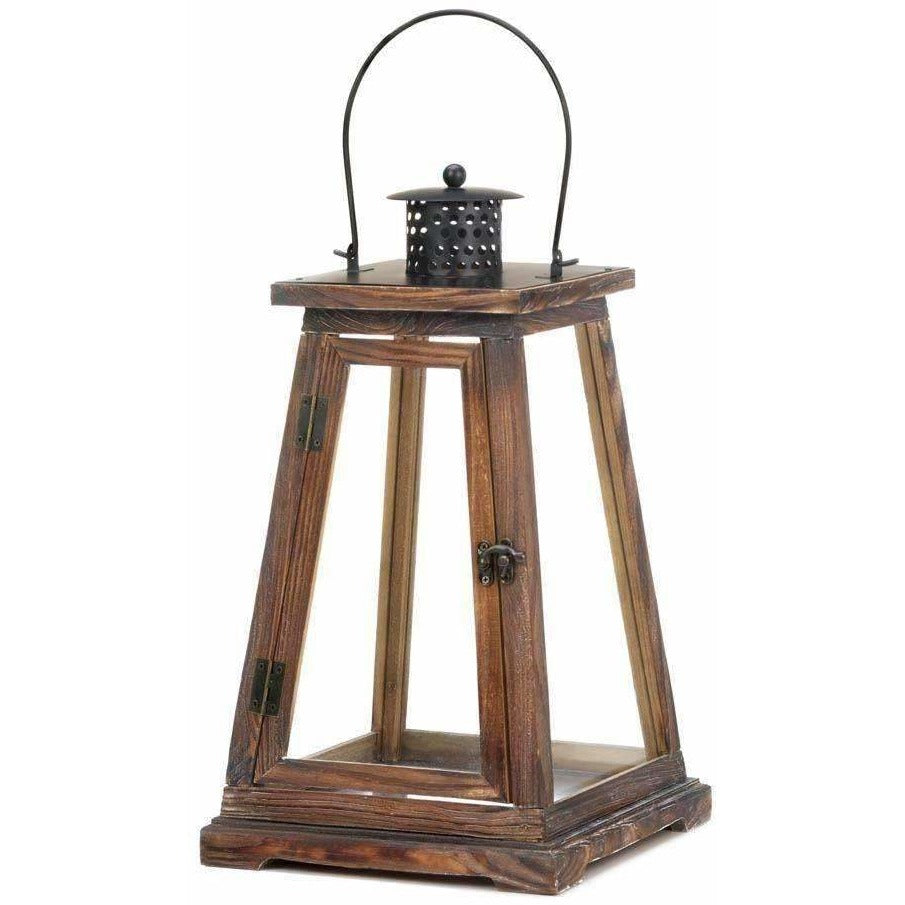 Wood and Glass Candle Lantern,candle lantern,Adley & Company Inc.