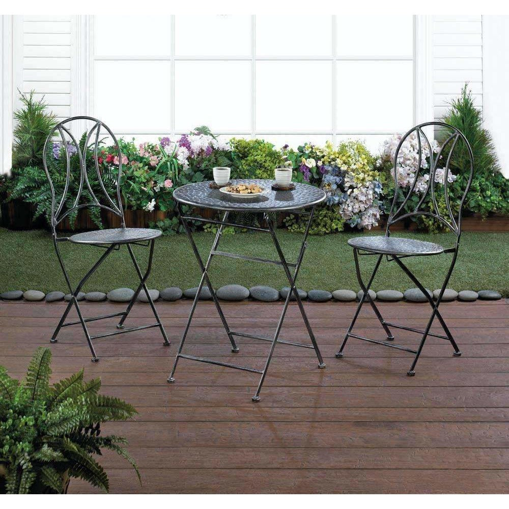 Folding Bistro Iron Patio Set,patio set,Adley & Company Inc.