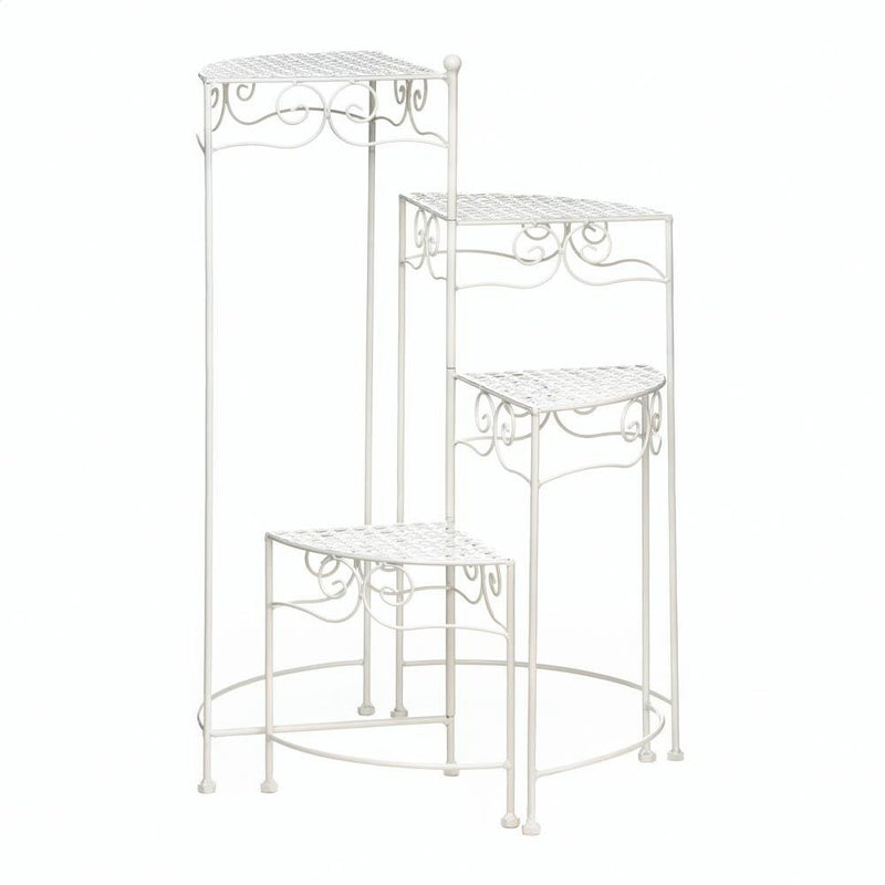 Tiered Metal Plant Stand, Black or White,plant stand,Adley & Company Inc.