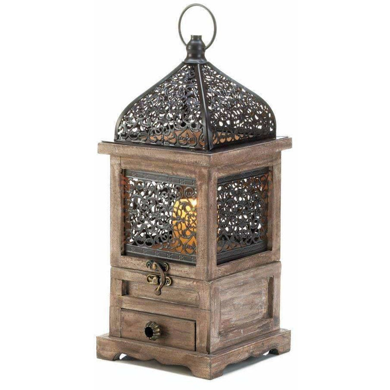 Wood & Metal Filigree Candle Lantern,candle lantern,Adley & Company Inc.