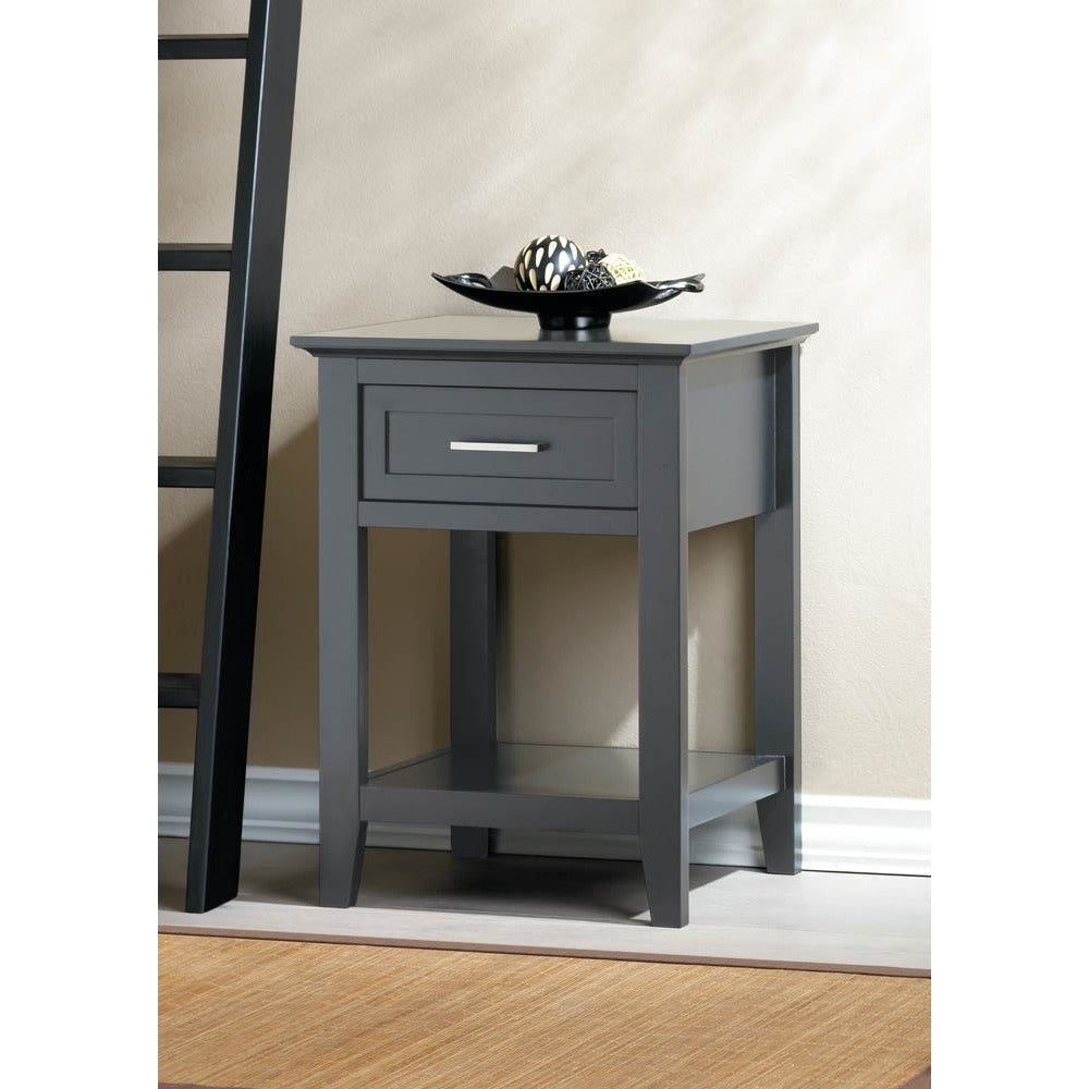 Grey Side Table With Drawer,end table,Adley & Company Inc.