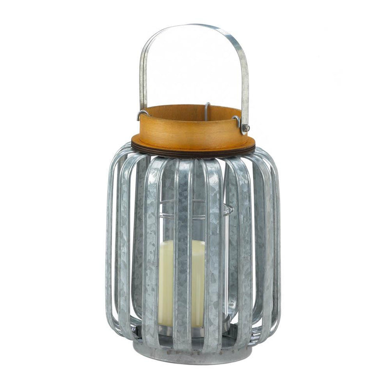 Galvanized Metal Candle Lantern,lantern,Adley & Company Inc.