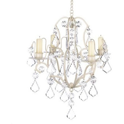 Ivory Wrought Iron Candle Chandelier
