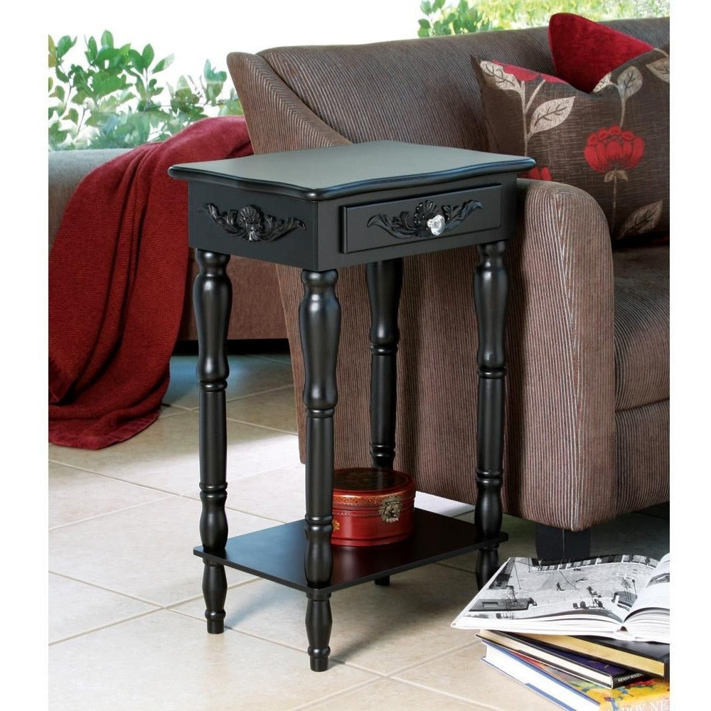 Black Wood Side Table, Night Stand Table,side table,Adley & Company Inc.