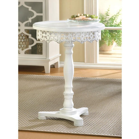 White Round Occasional Pedestal Table, Side Table, Night Stand