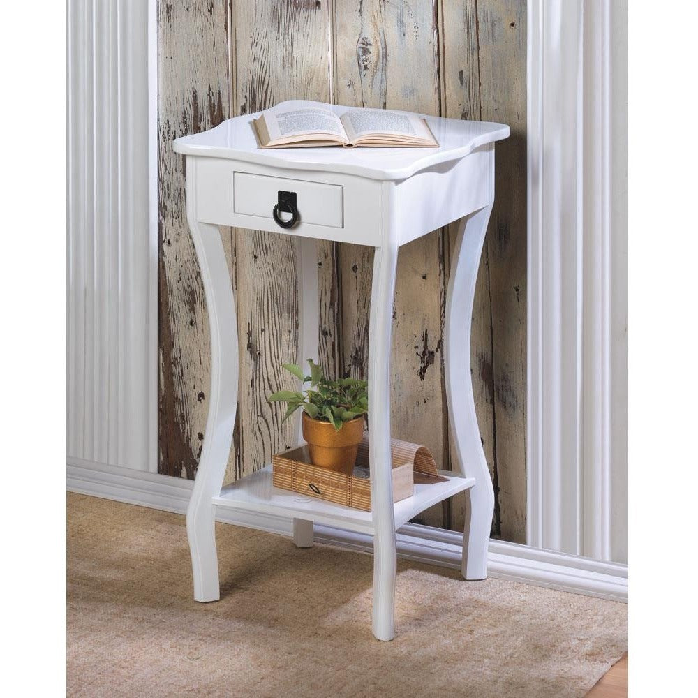Elegant White Side Table,side table,Adley & Company Inc.