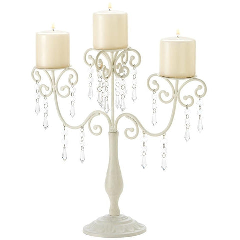 Ivory Metal Candle Holder, Candelabra