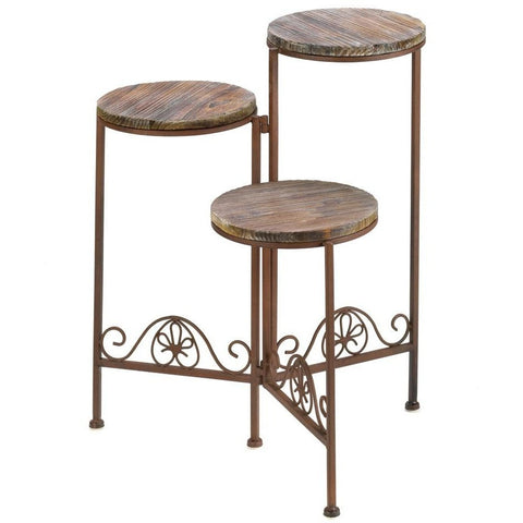 Rustic Metal and Wood Plant Stand - Adley & Company plant stand, Adley & Company Inc., Adley & Company Inc.