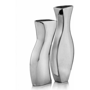 Silver Metal Modern Vases, Set of 2,modern vase,Adley & Company Inc.