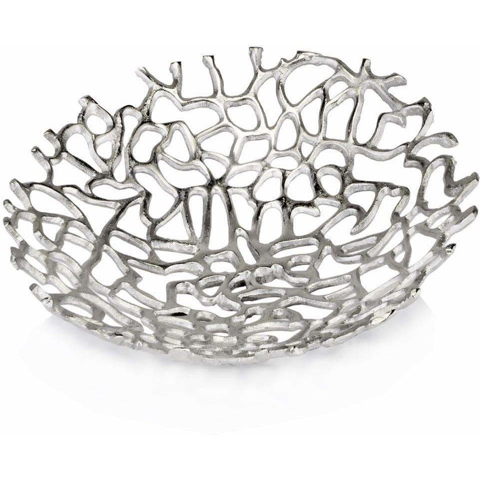 Coral Shaped Silver Metal Decorative Bowl,decorative bowl,Adley & Company Inc.