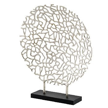 Coral Round Metal Sculpture on Stand,sculpture,Adley & Company Inc.