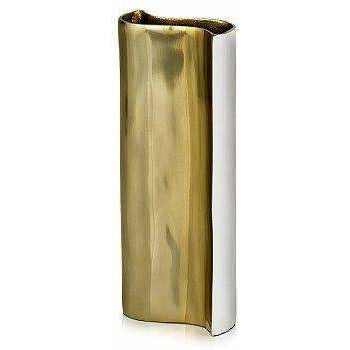 White and Gold Wave Vase,vase,Adley & Company Inc.