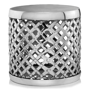 Silver Metal Open Weaved Seat, Stool,stool,Adley & Company Inc.