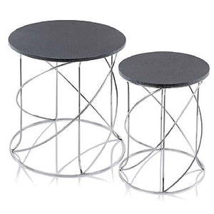 Nested Swirl White or Black Marble Tables - Set of 2,side table,Adley & Company Inc.