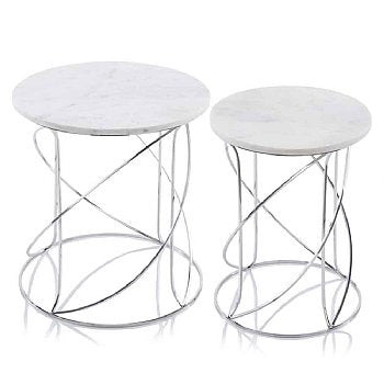 Nested Swirl White or Black Marble Tables - Set of 2