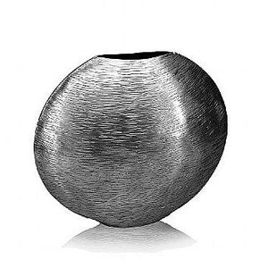 Round Hammered Silver Metallic Vase,Vase,Adley & Company Inc.