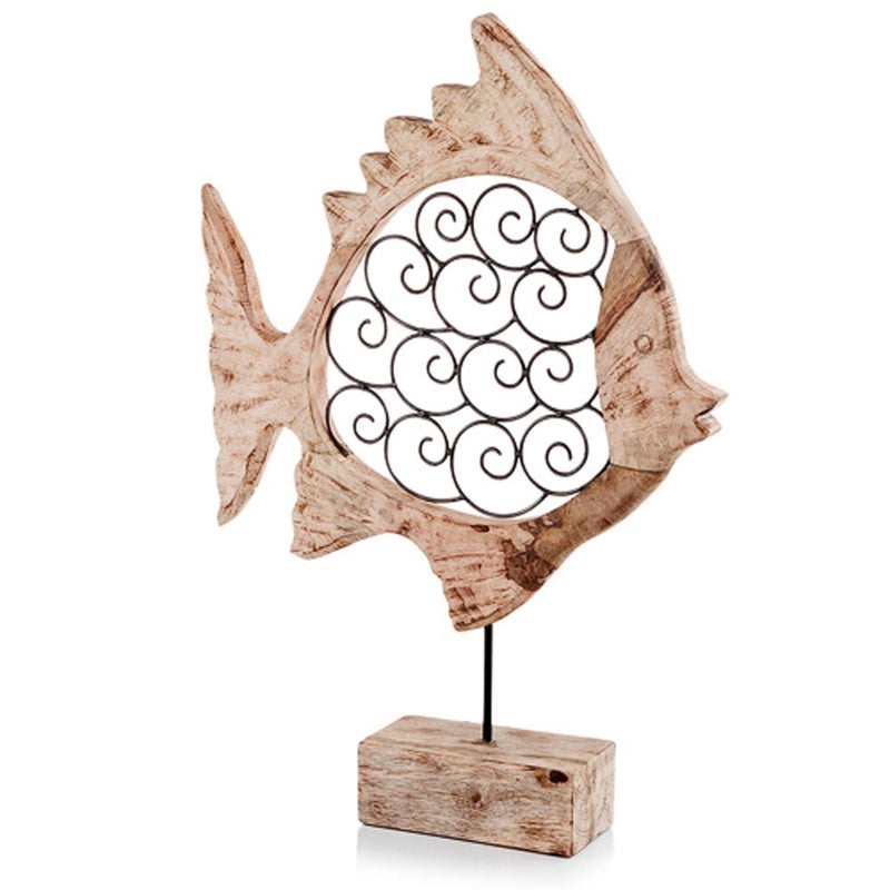 Carved Wood And Scroll Metal Fish Sculpture,fish,Adley & Company Inc.