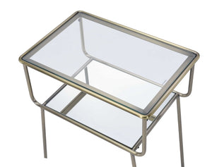 Antique Gold, Glass and Mirrored Side Table,side table,Adley & Company Inc.