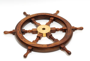 Rosewood Decorative Ship's Wheel