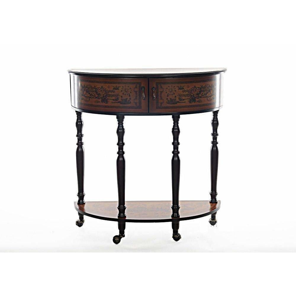 Wood Half Moon Console Table,console,Adley & Company Inc.