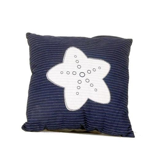 Navy Blue & White Nautical Pillow with Starfish