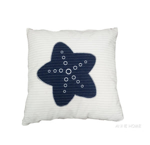 Navy Blue & White Nautical Pillow with Starfish,throw pillow,Adley & Company Inc.