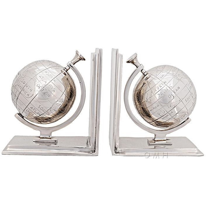 Silver Globe Bookend Set,bookend,Adley & Company Inc.