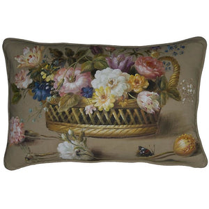 Hand Painted Linen Cushion,accent pillow,Adley & Company Inc.