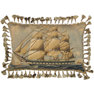 Sailing Ship Aubusson Down Filled Cushion,throw pillow,Adley & Company Inc.
