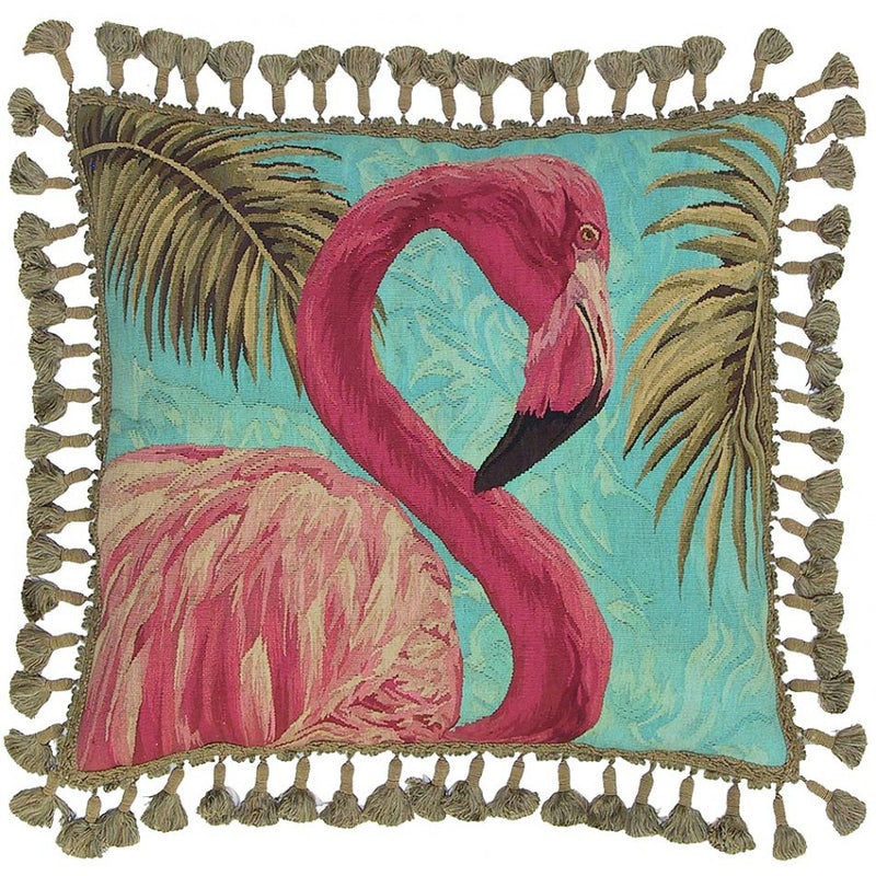 Pink Flamingo Aubusson Hand Woven Tapestry Accent Cushion,throw pillow,Adley & Company Inc.