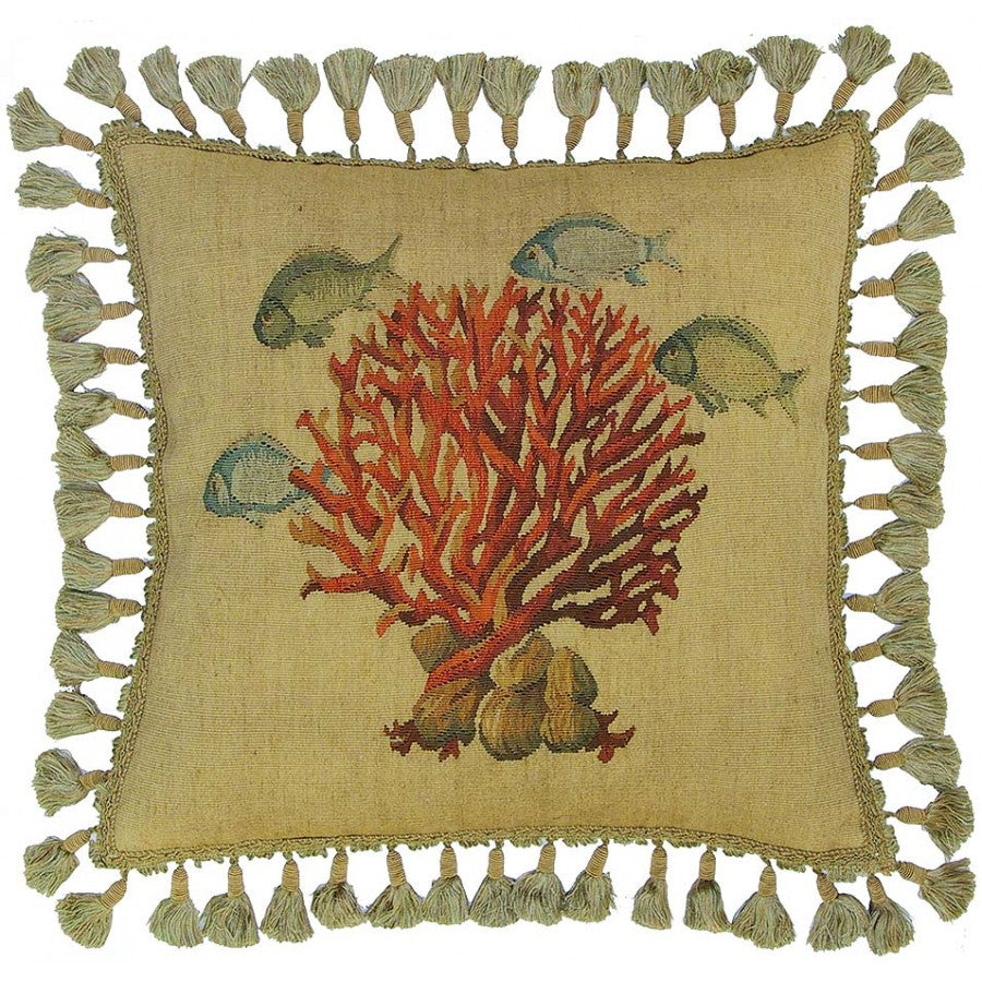 Coral Aubusson Hand Woven Tapestry Accent Cushion,throw pillow,Adley & Company Inc.