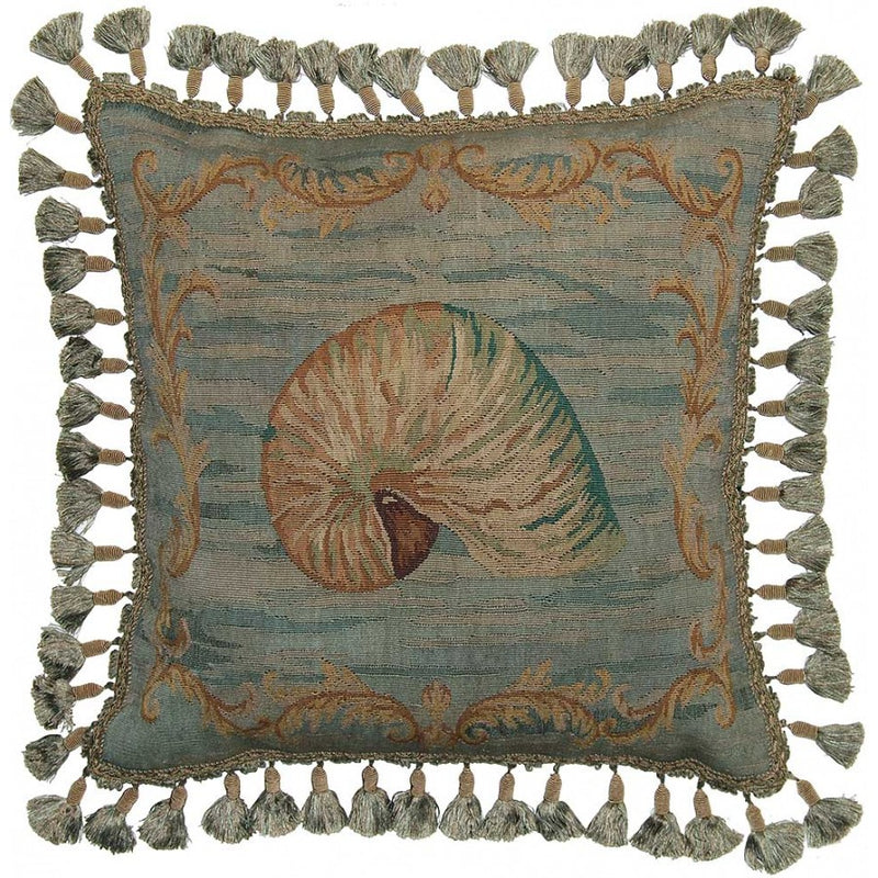 Sea Shell Aubusson Hand Woven Tapestry Accent Cushion