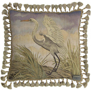 White Stork Woven Luxury Aubusson Cushion