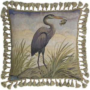 Blue Heron Down Filled Aubusson Luxury Pillow,throw pillow,Adley & Company Inc.