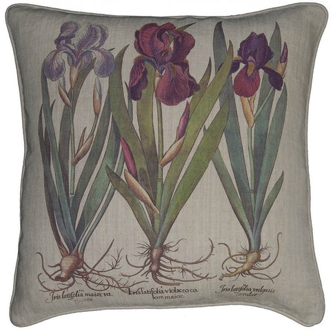 Vintage Iris Printed Linen Throw Pillow with Feather Down Insert