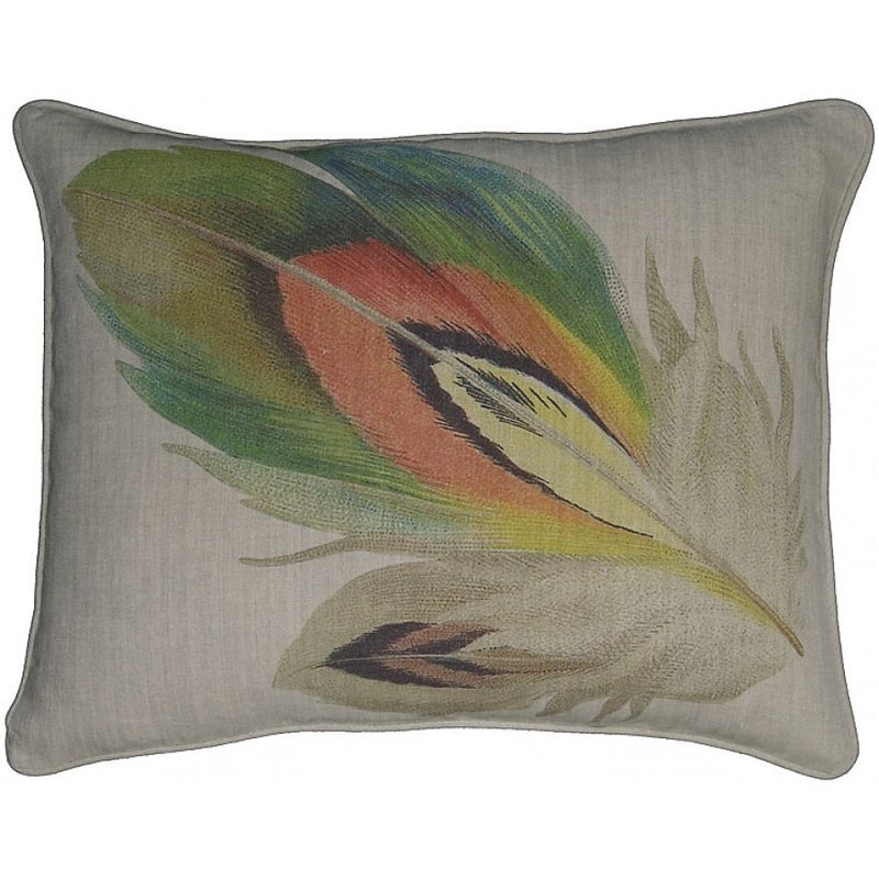 Feather Printed Linen Throw Pillow,throw pillow,Adley & Company Inc.