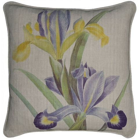 Floral Iris Printed Linen Throw Pillow with Feather Down Insert